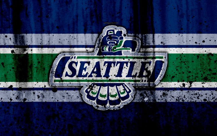 Download wallpapers Seattle Thunderbirds, 4k, grunge, WHL, hockey, art, Canada, logo, stone texture, Western Hockey League