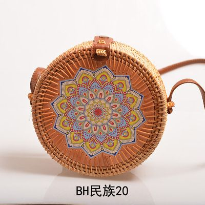 Rattan bag painted lady bohemia seaside beach bag retro sweet fresh flowers straw bag