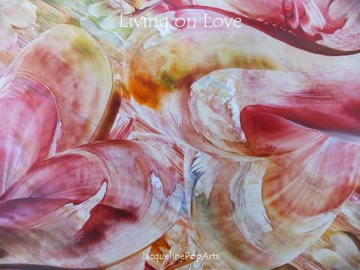 Living on Love, encaustic art by JacquelinePopArts  - Art with a Heart - Valentijn - Valentines Day