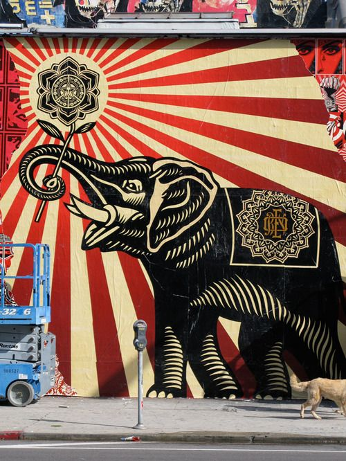 Two things I love... Elephants and Shepard Fairey. I'm wearing Obey pants and a shirt right now...