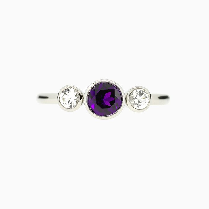 Trinity Bezel Engagement Ring with amethyst