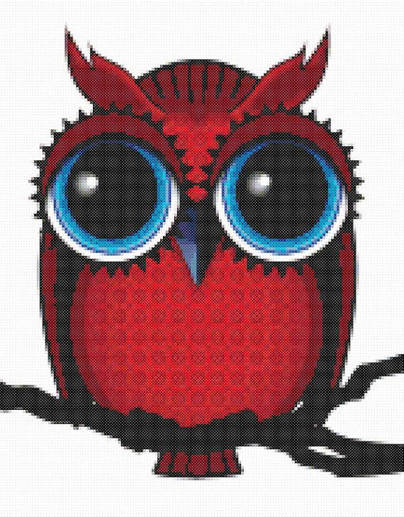 Owl Cross Stitch Pattern Red Owl with Big Eyes PDF Instant Download
