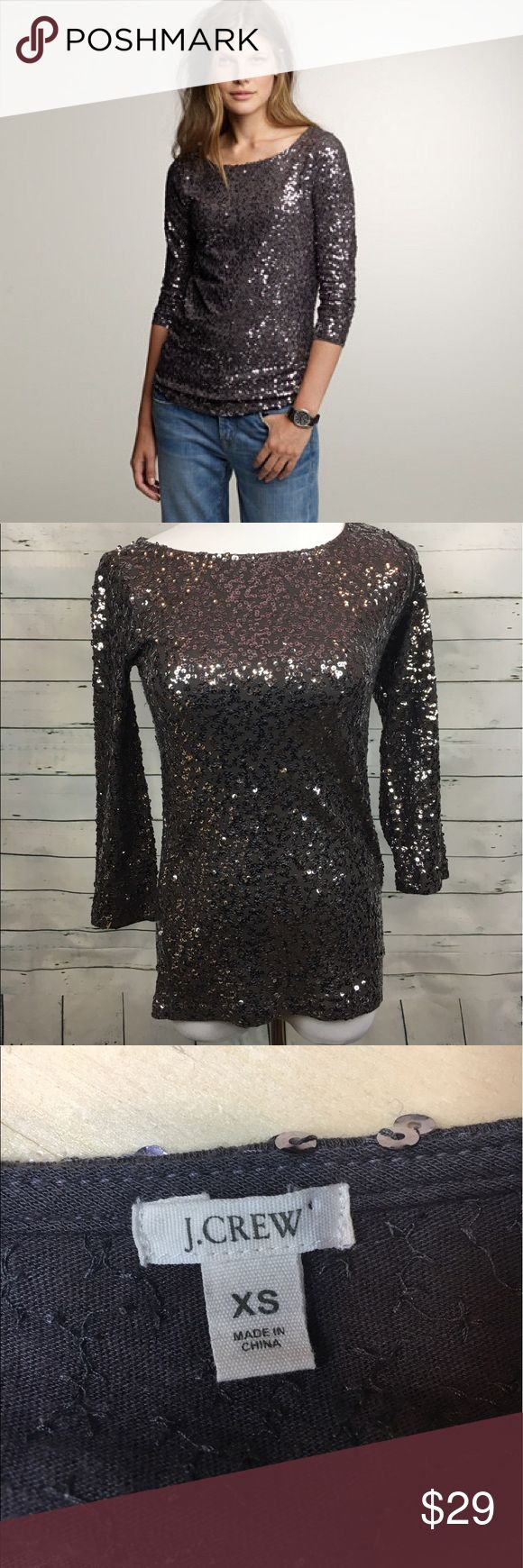 """J.Crew drapey sequin tee silver 3/4 sleeve Women's J.CREW Drapey sequin tee. 3/4 sleeves. size XS. Some pulling and loose threads  Armpit to armpit-16.5"""" Overall length-24"""" J. Crew Tops Blouses"""