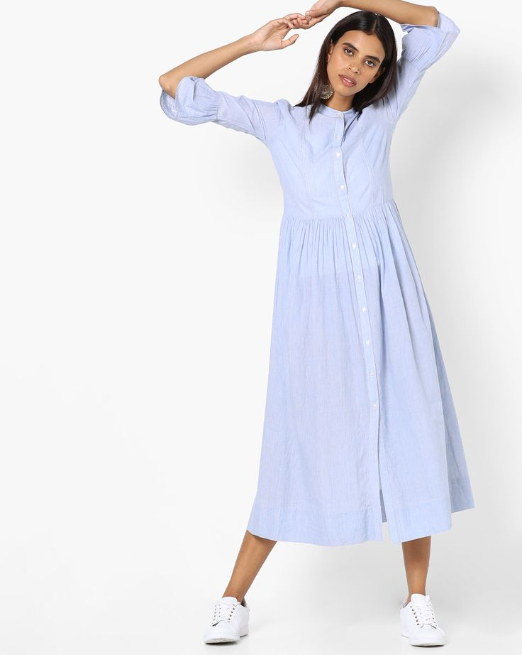 Buy AJIO Women Blue Striped Shirt Dress with Bell Sleeves  | AJIO