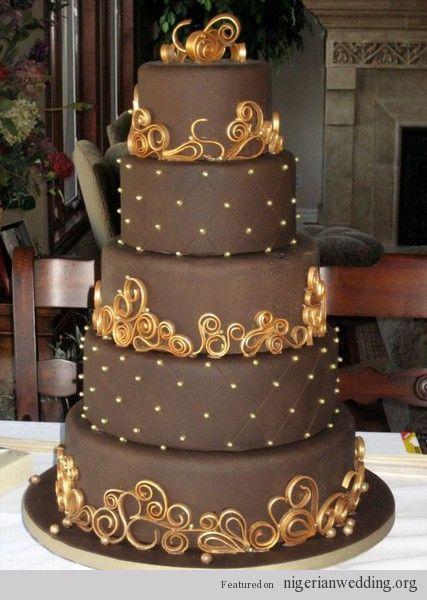 Nigerian wedding brown cakes 9