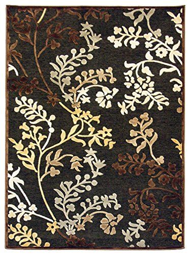 Faux Silk Floral 7ft8in x 10ft10in Area Rug in Charcoal iCustomRug