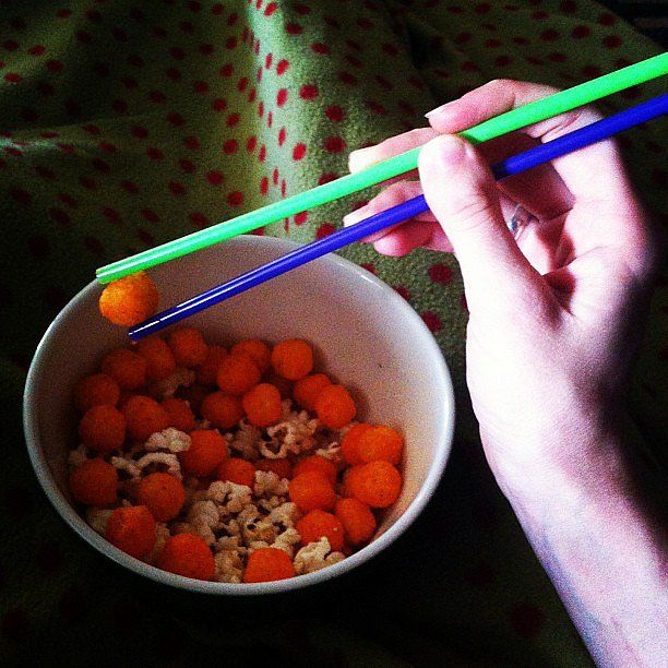 This life hack comes with two pointers: use chopsticks to eat snacks and fruit so as not to get your fingertips messy. And when you don't have chopsticks within reach, improvise with straws.  Source: Instagram user brittaniwray