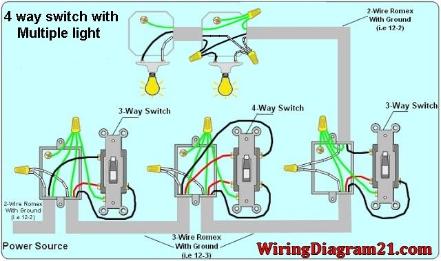 4 Way Switch Wiring Diagram Multiple Light Light Switch Wiring Electrical Wiring Diagram Three Way Switch
