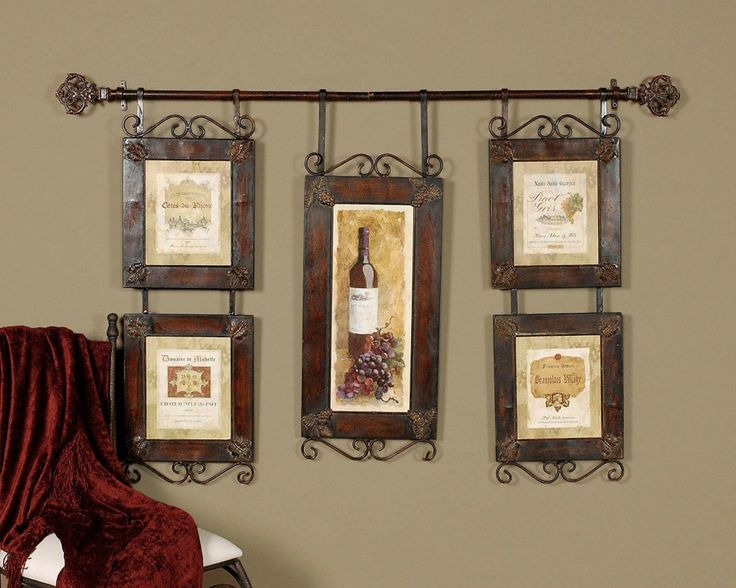 large wine collage french country tuscan wall decor - Wine Decor