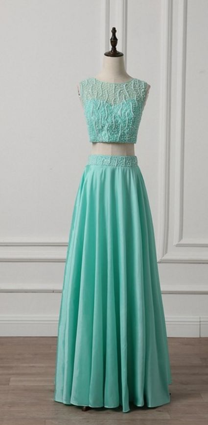 Two pieces mint green evening gown pearl sleeveless