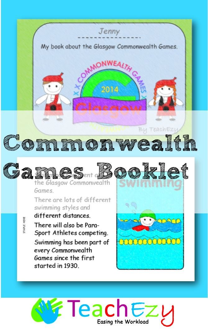Glasgow #CommonwealthGames Booklet for kiddies to colour in and learn about the games. www.teachezy.com www.earlychildhoodteachezy.com