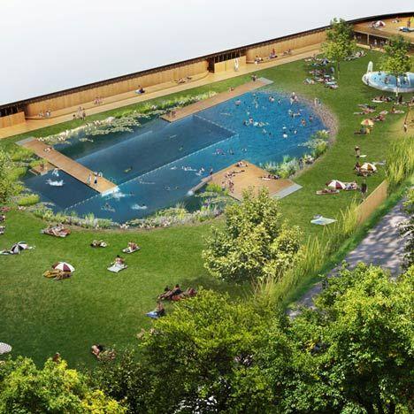 Naturbad Riehen swimming pool | Herzog & de Meuron | naturally filtered bathing lake, Switzerland