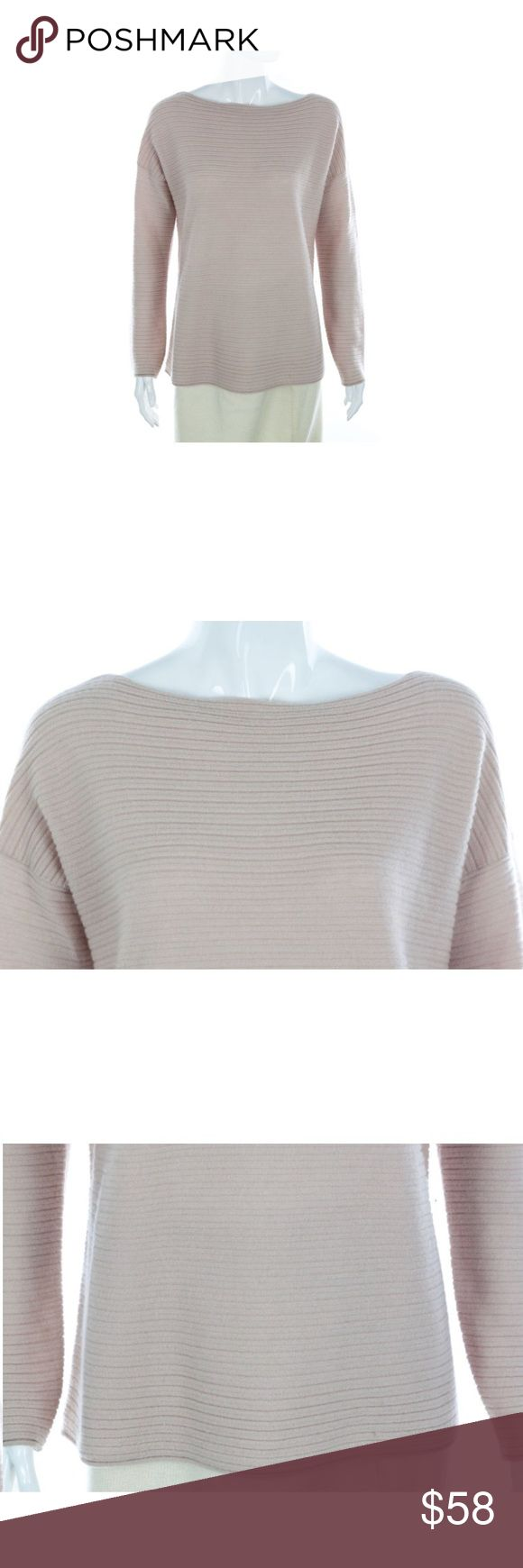 """Vince 100% Cashmere Pale Pink Ribbed Sweater Vince 100% Cashmere Pale Pink Ribbed Sweater  -  Size S Size small 100% Cashmere Boat neck Medium knit - perfect for layering in the spring Horizontal rib texture Roomy fit Long sleeve   Condition: Immaculate condition, some slight dirtiness at bottom hem of cuff. Very slight and can be easily hand washed or dry cleaned (Second hand item-has been worn by previous owner).  Measurements  Length: 26""""  Chest: 42"""" Waist: 41"""" Arm: 22"""" Vince Sweaters"""