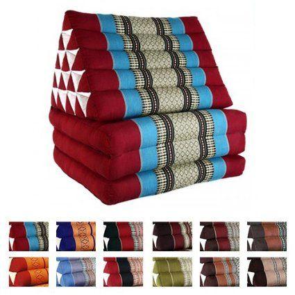 Coussin thai pouf triangulaire capoc coton avec for Decoration chambre thailandaise