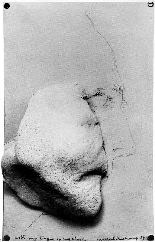 Marcel Duchamp, With my tongue in my cheek. 1959. Plaster, wood paper and pencil.