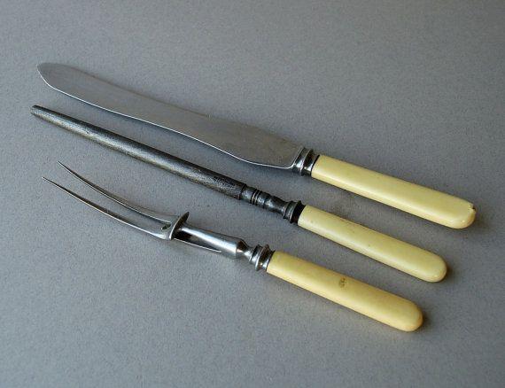 Vintage carving knife set fork and