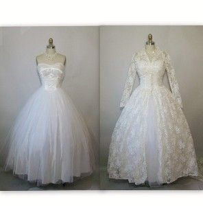 1950's Strapless White Tulle Wedding Dress & Lace...
