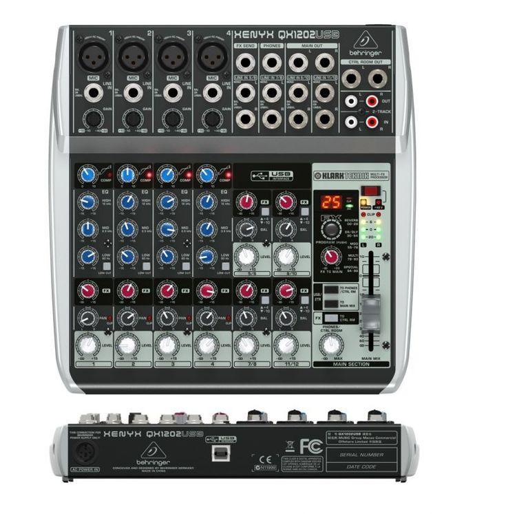 Behringer XENYX QX1202USB MESA DE MEZCLAS Mesa de mezclas analógica de 12 entradas y 2 buses con compresores