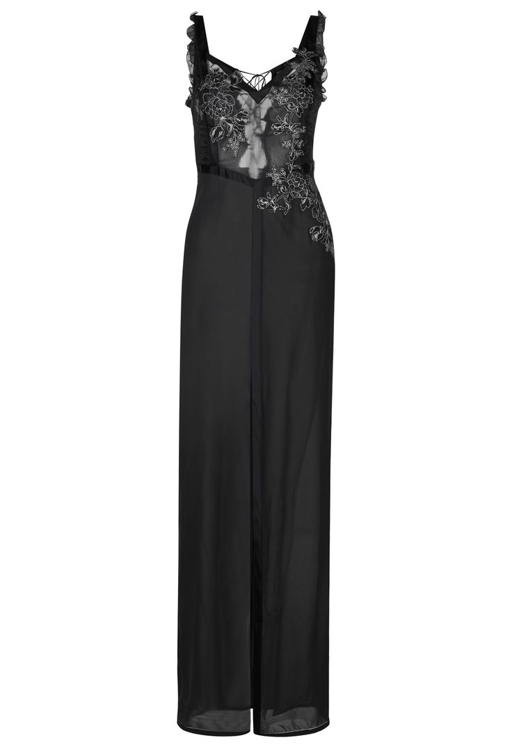 Black long nightdress in stretch silk georgette and embroidered tulle - CFIPLM0000200_NRW502