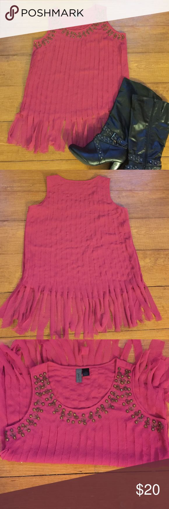 Woman's dressy top Woman's dressy top from Venezia Lane Bryant size 14/16. Beautiful beading and a very uniquely frayed style front and back! Very dressy and very classy! Would be beautiful with black leggings and boots!! True color is a pinkish/mauve. Venezia Tops Blouses