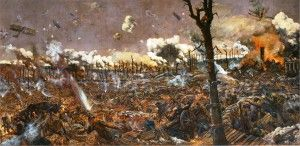 Like the observer in the tree in the right foreground, painter Louis Weirter witnessed this Somme battle as a soldier. His painting depicts the chaos and complexity of fighting on the Western Front, and the use of combined arms tactics. The capture of the ruined town of Courcelette, France on 15.