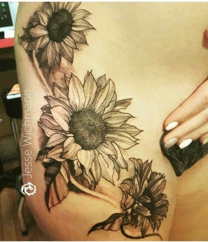 Black And White Sunflower Tattoo On Hip Gardening Flower And