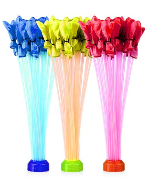 The Bunch O Balloons lets you fill 100 water balloons in 60 seconds. Simply connect the attachment, fill the balloons and watch them self-seal to make the water balloons lock and ready to launch. Each pack contains three bunches of 34 balloons plus a quick fix adapter; $9.99 at bunchoballoons.com.
