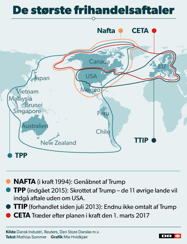 USA er involveret i nogle af verdens største handelsaftaler, som er udfordret af den nye præsident. Men EU er tæt på at sætte sidste punktum i en lang række frihandelsaftaler med andre lande.