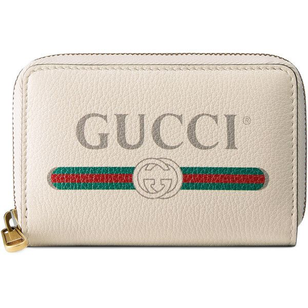 Gucci Print Leather Card Case ($495) ❤ liked on Polyvore featuring bags, wallets, accessories, wallets & small accessories, white, women, zip around wallet, genuine leather wallet, white leather bag and leather card holder wallet