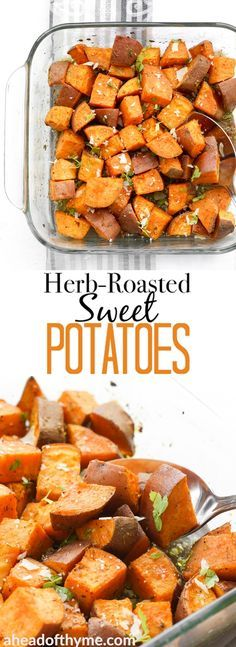 Crispy on the outside and soft and tender on the inside, these flavourful, herb-roasted sweet potatoes are the perfect addition to your holiday table. | aheadofthyme.com via @aheadofthyme