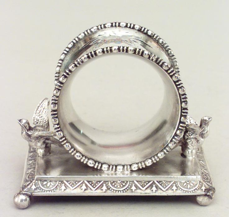 English Victorian napkin holder silver-plate