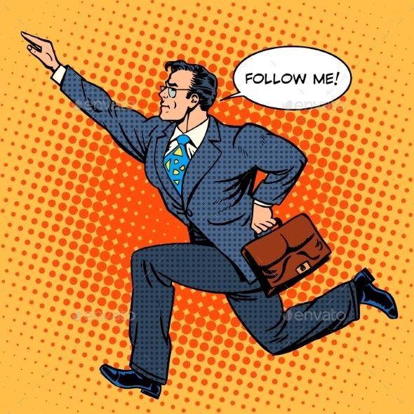 Super Hero Businessman Runs Forward Screaming