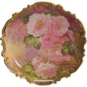 Gorgeous Antique Limoges France Hand Painted Roses Floral Wall Plaque Charger Still Life China Painting Artwork Heirloom Treasure Artist Signed