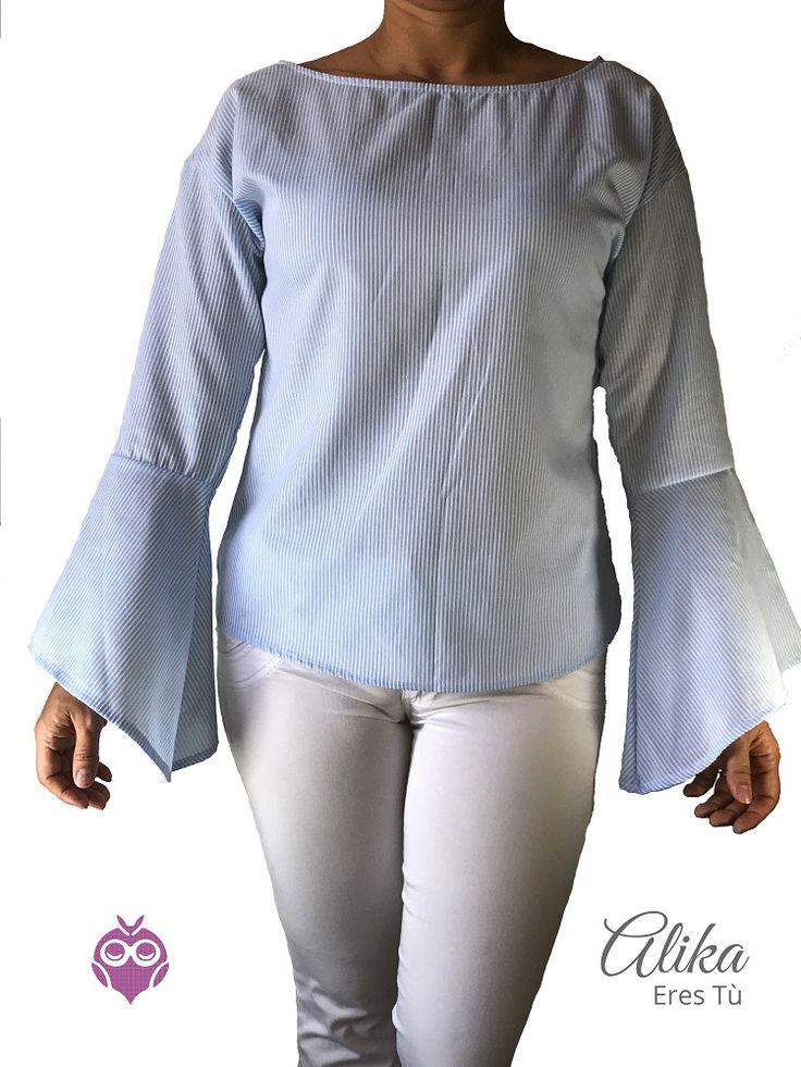 Camisa azul manga campana, alika, mujer, moda, ropa