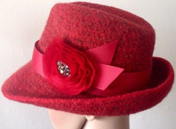 A personal favorite from my Etsy shop https://www.etsy.com/listing/460958798/felted-wool-hat-winter-red-fedora-with
