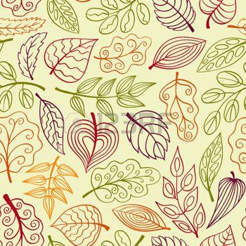 hojas de otoño dibujo: Dibujado a mano a patrón transparente con hojas. Vector dibujo de fondo.