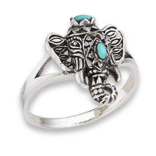 Ganesha Elephant With Turquoise Gem - Ring – MADE MINE