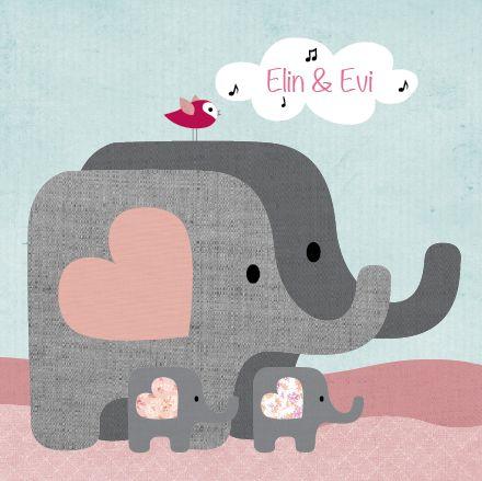 www.hetuilennestje.nl - Het Uilennestje geboortekaartjes tweeling Elin & Evi Tweeling, olifant, familie, vogel, wolken.