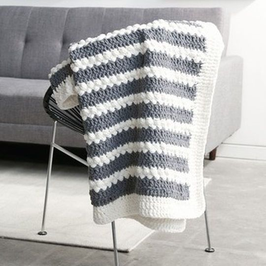 "Bernat® Blanket™ Puff Stitch Stripes Crochet Blanket ~ FREE - CROCHET ~ size is 50"" x 60"" ~ love this!"