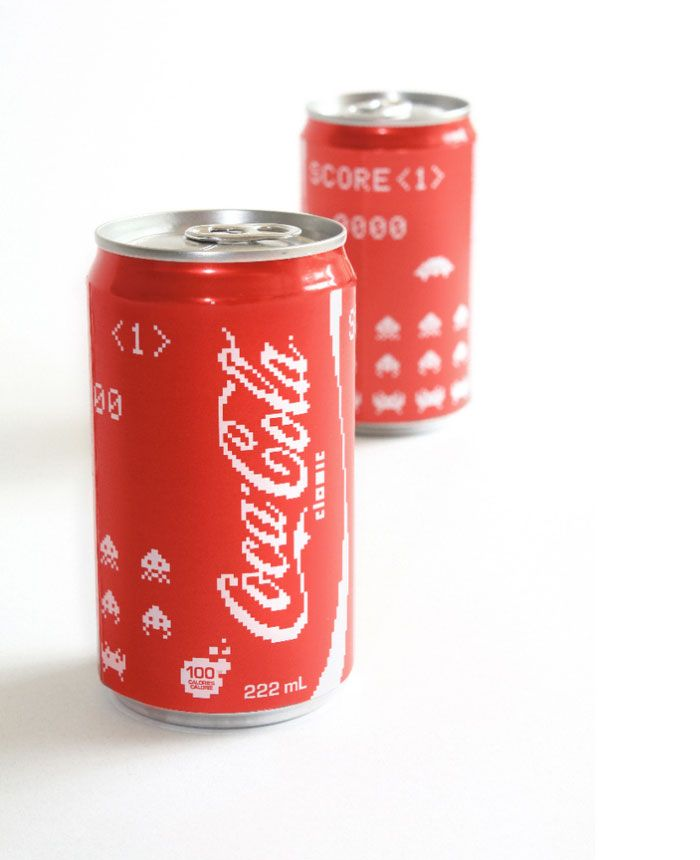 space invaders inspired coca cola cans