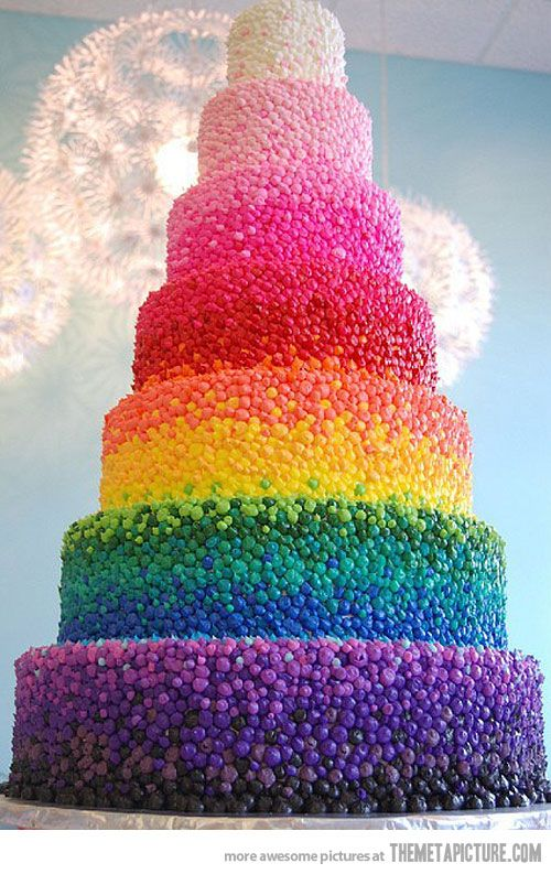 So colorful: Idea, Color, Rainbow Cakes, Food, Rainbows, Wedding Cakes, Birthday Cake, Weddingcake