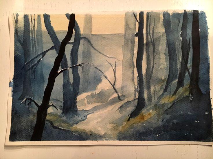 akwarela, pejzaż, las, watercolour, landscape,