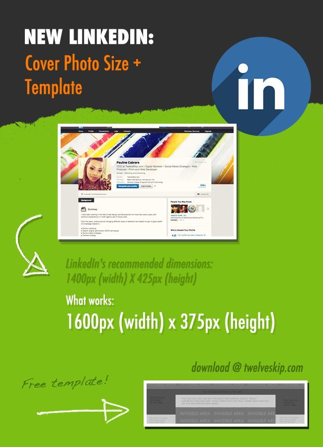 New Linkedin Profile: Header Background Size + Template -- LinkedIn's new profile design: cover photo size template http://www.twelveskip.com/tutorials/linkedin/1294/linkedin-header-background-size-template
