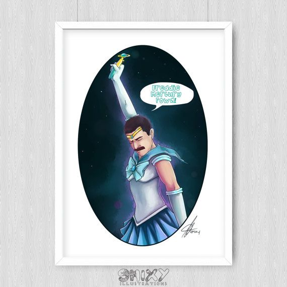 Sailor Freddie Mercury  9.5 x 13 Giclee Print. by Enixy on Etsy