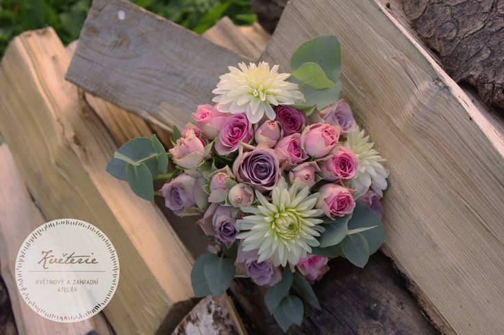 romantic lila, rose and white bouquet with roses, dahlia and eucalyptus