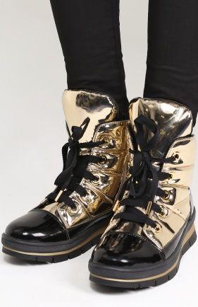 Женские черные ботинки из металлизированной кожи на молнии Jog Dog, арт. 14007R-R/G0LD купить в ЦУМ   Фото №1