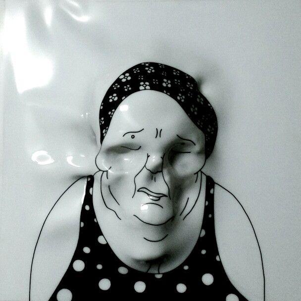 """""""Bagnante con cuffia""""  .I Fantasmi di GianMaria Pizzi intrappolati nei disegni di Andrea Bovaia.."""