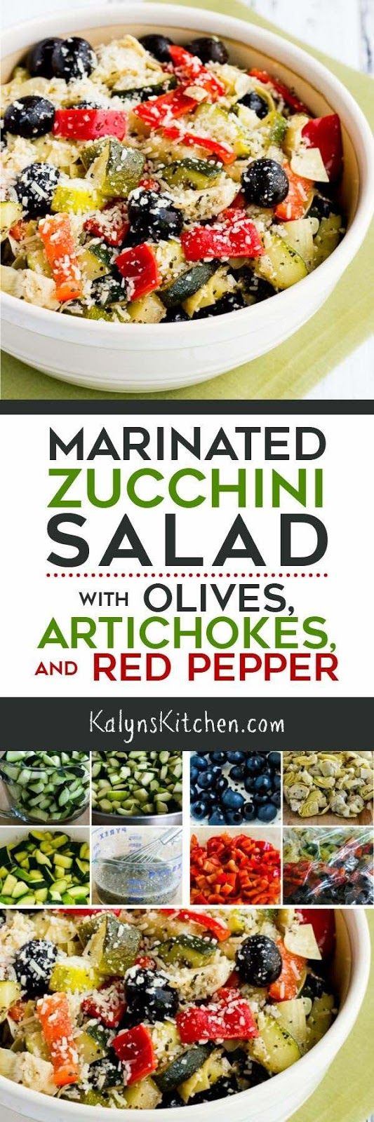 This Marinated Zucchini Salad with Olives, Artichokes, and Red Pepper, (plus Red Onion if desired) is one that I've been making for years and this is one of the Top Ten Most Popular Low-Carb Zucchini Recipes on Kalyn's Kitchen! And this delicious summer salad with zucchini is low-carb, gluten-free, and South Beach Diet friendly. [found on KalynsKitchen.com]