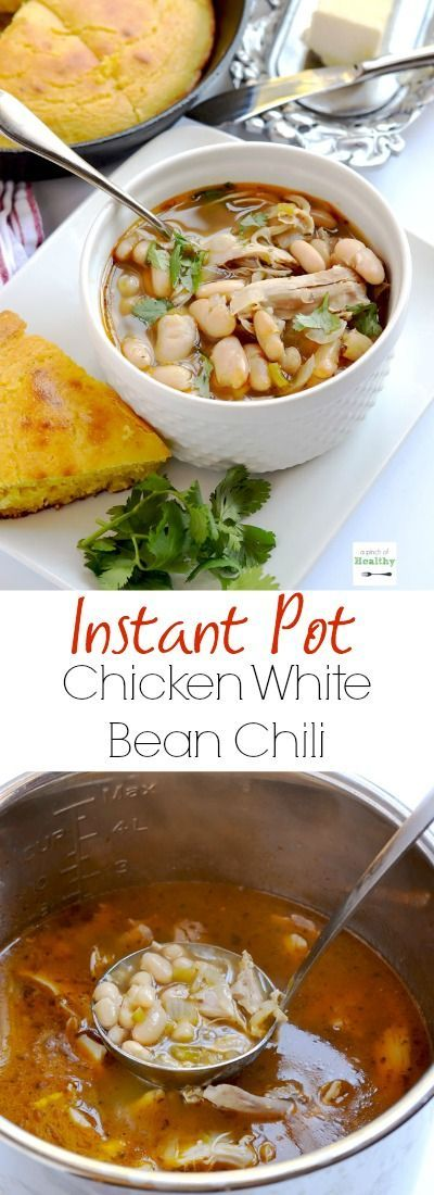 Instant pot white chicken chili is super easy and delicious dinner that comes together in less than thirty minutes. | APinchOfHealthy.com
