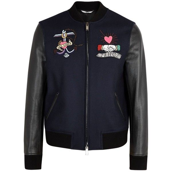 Valentino Bead-embellished Wool Bomber Jacket - Size 38 (4,530 CAD) ❤ liked on Polyvore featuring men's fashion, men's clothing, men's outerwear, men's jackets, mens navy bomber jacket, mens navy blue bomber jacket, mens zipper jacket, mens navy blue jacket and mens wool outerwear